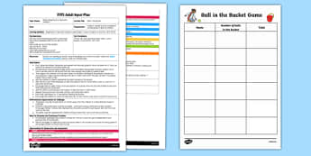 EYFS Ball in the Bucket Adult Input Plan - EYFS, Early Years planning, adult led, Maths, counting, representing numbers, throwing, target game