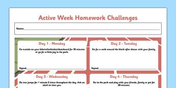 Active Week Homework Challenges - active week, homework challenges, active, week