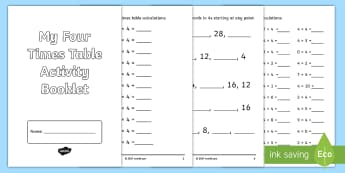 Four Times Table Activity Booklet - CfE Multiplication Workbooks, Four, Times Tables, MNU 1-03a, four times table, 4x table, multiplicat