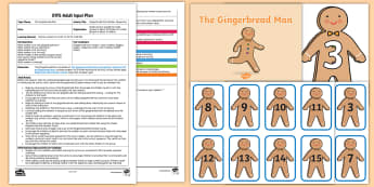 EYFS Gingerbread Man Number Sequences Adult Input Plan and Resource Pack - EYFS, Early Years Planning, adult led, The Gingerbread Man, Traditional Tales, Maths, Numeracy, numb
