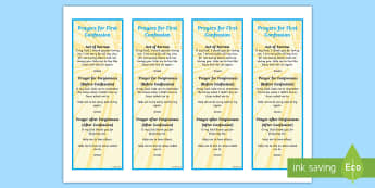 Prayers for First Confession Editable Bookmarks - bookmark, prayers, after confession, before confession, forgiveness,Irish