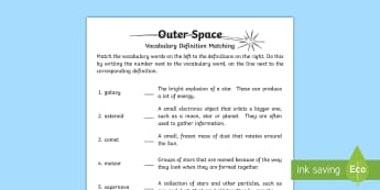 Outer Space Definition Matching Activity Sheet - Outer Space, vocabulary, words, space, definitions, Worksheet, matching, planets, satellite, superno