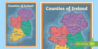Counties of Ireland Display Poster  - Irish, Gaeilge, Counties, Ireland, Geography, Poster, Irland, georgraphy, seomra ranga,Irish