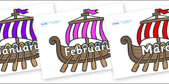 Months of the Year on Viking Longboats - Months of the Year, Months poster, Months display, display, poster, frieze, Months, month, January, February, March, April, May, June, July, August, September