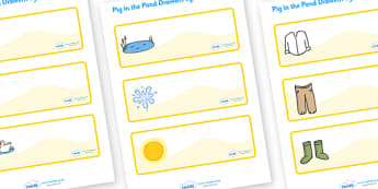 Editable Drawer-Peg-Name Labels to Support Teaching on Pig in the Pond - Pig in the Pond, Martin Waddell, resources, Very Hot Day, Neligan, Neligan's pig, ducks, geese, pond, animals, story, story book, story book resources, story sequencing, story r