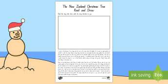New Zealand Christmas Tree Read and Draw Activity Sheet