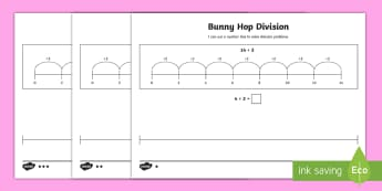 Bunny Hop Division by 2 Differentiated Activity Sheets - Repeated Subtraction, Number Line, Divide, Share, Steps