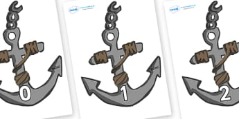 Numbers 0-31 on Anchors - 0-31, foundation stage numeracy, Number recognition, Number flashcards, counting, number frieze, Display numbers, number posters