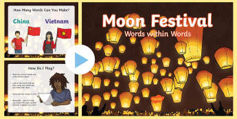 Moon Festival Words Within Words PowerPoint - Mid-Autumn Festival, Mooncakes, game, vocab, vocabulary, word,  Harvest,