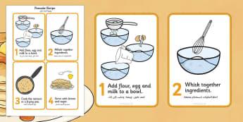 Pancake Recipe Sheet Arabic Translation - arabic, Pancake day, recipe, pancake, shrove Tuesday, pancakes, recipe card, making pancakes, display poster, recipe information