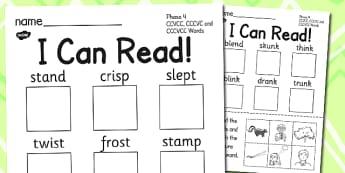 I Can Read Phase 4 CCVCC CCCVC and CCCVCC Words Activity Sheet, worksheet