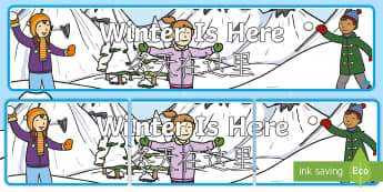 Winter Is Here Display Banner English/Mandarin Chinese - Winter 2016/17, seasons, snow, ice, fun, heading, header, label, sign, EAL