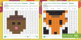 Little Acorns Subtraction Maths Mosaic Activity Sheets - twinkl fiction, originals, Little Acorns, Maths, mosaics, KS1, EYFS, Subtraction, worksheets