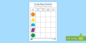 Turning Shapes Clockwise and Anti-clockwise Activity Sheets - Mathematics, Year 2, Measurement and Geometry, Location and transformation, ACMMG046, turning quarte
