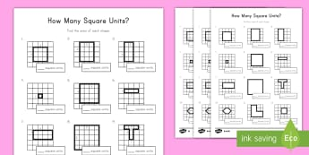 Find the Area - Counting Square Units Differentiated Activity Sheets  - square units, area, tiling, measurement,