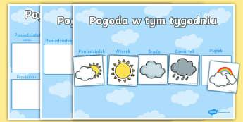 Tygodniowy kalendarz pogodowy - pogoda, pogodowy, zjawiska, atmosferyczne, deszcz, słońce, burza, śnieg, kalendarz, chmurka, prog