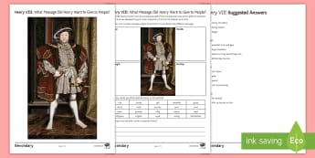 Henry VIII's Portraits Activity Sheet - Tudor, propaganda, portraits, image, henry VIII, symbolism, worksheet
