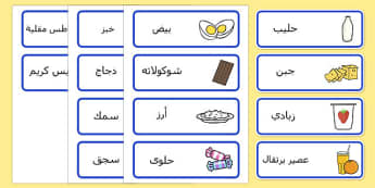 Food Vocabulary Cards Arabic - arabic, food, vocabulary, cards, eat