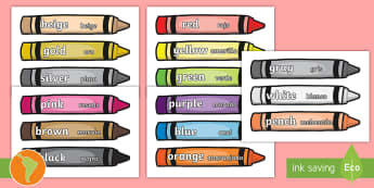 Color Words on Crayons US English/Spanish (Latin) - crayon, color display, color posters, color mixing, black, white, red, green, blue, yellow, orange,