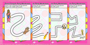Diwali Pencil Control Path Worksheets - fine motor skills, hindu