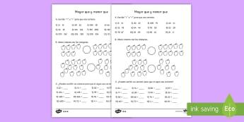 Ficha de actividad: Mayor que y menor que - mayor que, menor que, signos matemáticos, mates, matemáticas, números, ordenar números, <, >, ,S