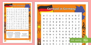 Carnival in Germany Word Search - Carnival, Germany, German, Fasching, Fastnacht, Karneval