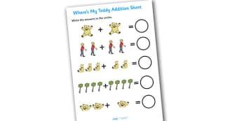 Wheres My Teddy Addition Sheet - wheres my teddy, addition sheet, addition, wheres my teddy addition sheet, wheres my teddy worksheet