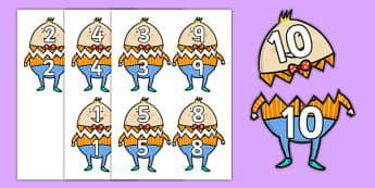Humpty Dumpty Matching Numbers to 10 Activity - humpty dumpty, matching numbers, match, numbers, 10, activity