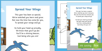 Spread Your Wings End of Year Poem - moving on, transition, new class, proud, goodbye, end of year