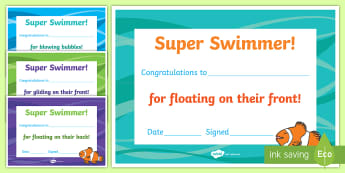 New Zealand Swimming Junior Achievement Certificates - Swimming, PE, Physical Education, NZ, New Zealand, sport, certificates, aquatics,