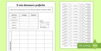 Il mio dinosauro preferito Attività - conta, questionario, schema, tabella, italiano, italian, statistica, dinosauri, materiale, scolastic