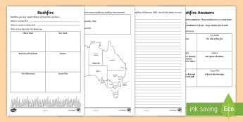 Bushfire Activity Sheet - Australia Curriculum HASS The impact of bushfires or floods on environments and communities,Australi