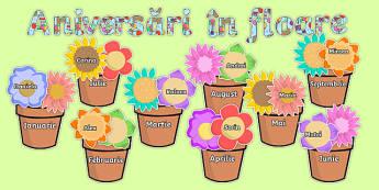 Florile sărbătoriților - Planșe aniversare