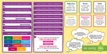 Complex Sentences: Features of Sentences Display Pack - subordinating conjunctions KS2, what is a subordinating conjunction, conjunction, subordination, sub