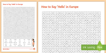How to Say 'Hello' in Europe Word Search - KS3, Geography, Languages, European Day od Languages, wordsearch, hello
