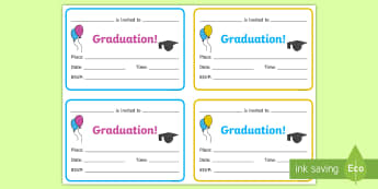 Graduation Invitation Writing Template - End of Year Leavers Activities