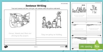 Up, Up and Away! Trace and Copy the Sentences Activity Sheet - ROI, Up, Up & Away, Aistear, Airport, Travel, Holiday, English, Activity, Display, Story,Irish, Work