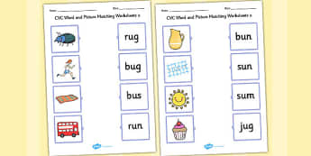 CVC Word and Picture Matching Worksheets u - cvc, word, match