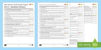 AQA Chemistry Unit 4.3 Quantitative Chemistry Student Progress Sheet - Student Progress Sheets, AQA, RAG sheet, Unit 4.3 Quantitative Chemistry