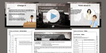 Frankenstein Lesson Pack 4: Creation and Disaster Chapter 5 - Frankenstein, Romantics, 19th century, English Literature, GCSE, Mary Shelley