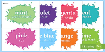 Colour Display Posters Romanian/English - colours, shades, tints, vocabulary, paint, art, EAL, ESL