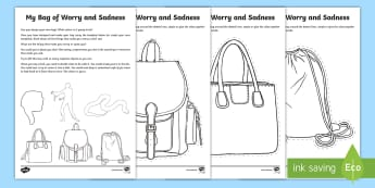 My Bag of Worries and Sadness Activity Sheet - young people, anxiety, trauma, transition, PSHCE, worksheet
