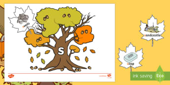 Autumn Leaves and Trees Phase 2 Phonics Game - EYFS, Early Years, KS1, Key Stage 1, Literacy, English, Phonics, Letters and Sounds, leaf, forest, w