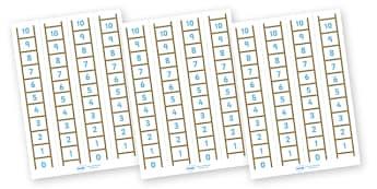Number Ladder (0-10) - Maths, Math, number ladder, numbertrack, numberline, counting, Number line, Counting on, Counting back
