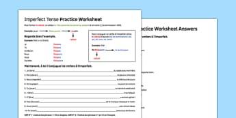 L'imparfait feuille de travail French Imperfect Tense Practice Worksheet - french, imperfect, tense, practice, worksheet