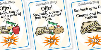 Sandwich Shop Role Play Posters-sandwich shop, role play, posters, role play posters, sandwich shop posters, classroom posters, display poster