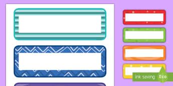 Multicolor Pattern Editable Drawer, Peg, Name Labels - editable, labels, pattern, multicolor, name labels