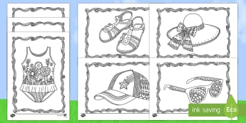 Summer Clothes Mindfulness Colouring Sheets - Mindfulness Colouring, summer, seasons, colouring, weather, holidays, beach