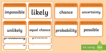 CfE Second Level Numeracy and Mathematics Chance and Uncertainty Keyword Flashcards-Scottish - Wall Display, keywords, MNU 2-22a, language of maths, vocabulary, word wall, Scottish