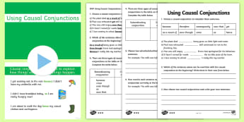 Causal Conjunctions PowerPoint Pack - casual, connectives, pack